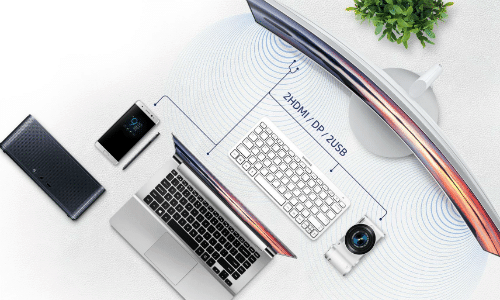 Samsung C34F791 Test der Anschlussmöglichkeiten
