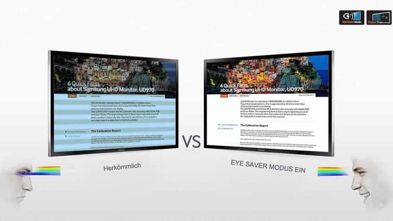 Samsung U28E590D Test - Beschreibung Eye Saver-Modus
